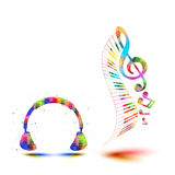 Headphones with note Royalty Free Stock Photography