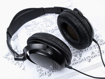 Headphones and notes Royalty Free Stock Image