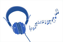 Headphones and notes Royalty Free Stock Photography