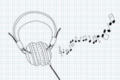 Headphones and notes Royalty Free Stock Photo