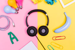 Headphones with objects Royalty Free Stock Image
