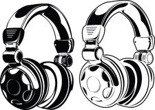 Headphones. One Color Drawings Stock Photography