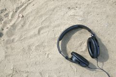 Headphones   on outdoor background. Summer Royalty Free Stock Images