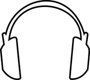 Headphones Outline. Large headphones outlined illustration - large headphones that cover ears Royalty Free Stock Photos