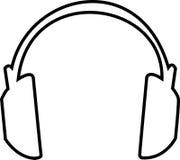 Headphones Outline. Large headphones outlined illustration - large headphones that cover ears Stock Illustration