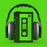 Headphones Over Old Vintage Audio Cassette Tape. 3d Rendering. Headphones Over Old Vintage Audio Cassette Tape on a green background. 3d Rendering stock illustration