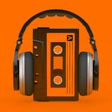 Headphones Over Old Vintage Audio Cassette Tape. 3d Rendering. Headphones Over Old Vintage Audio Cassette Tape on a orange background. 3d Rendering stock illustration