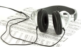 Headphones and pages with notes Royalty Free Stock Image