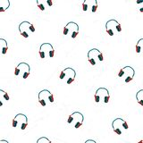 Headphones pattern repeat seamless for any design. Headphones pattern repeat seamless in orange color for any design. Vector geometric illustration Stock Photo