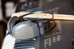 Headphones On Piano In Recording Studio Stock Images