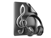 Headphones, playlist and notes Stock Photography
