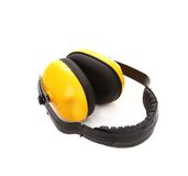 Headphones protection. Isolated on a white background royalty free stock photo