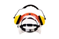 Headphones and protective mask. Royalty Free Stock Photos