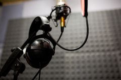 Headphones in record room. Sound recording studio. Headphones in record room. Sound recording studio Stock Photography