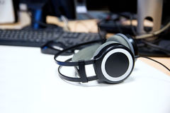 Headphones at recording studio or radio station Royalty Free Stock Photo