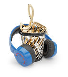 Headphones and recycle bin filled with music notes Stock Images