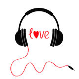 Headphones with red cord. Love card. Text and heart. White background. Isolated Royalty Free Stock Images