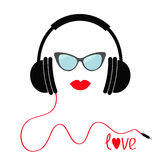 Headphones with red cord. Sunglasses and lips Love Music card. Flat design icon. White background Isolated Royalty Free Stock Images