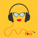 Headphones with red cord. Sunglasses and lips Love Music card. Flat design icon. Yellow background Royalty Free Stock Photos