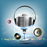 Headphones and a retro microphone. Vinyl record music background. Stock  illustration Royalty Free Stock Image