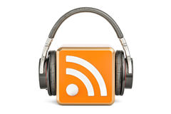 Headphones with RSS logo podcast, 3D rendering. Headphones with RSS logo podcast, 3D vector illustration