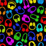 Headphones Seamless Pattern in colors Stock Photo