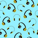 Headphones seamless pattern. Vector Illustration Stock Image