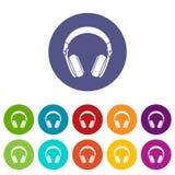 Headphones set icons Royalty Free Stock Photos