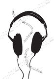 Headphones and sheet of music. Headphones with sheet of music vector illustration