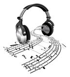 Headphones sheet music notes concept Royalty Free Stock Images