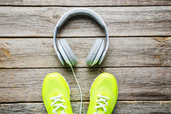 Headphones with shoes Royalty Free Stock Image
