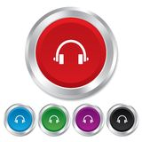 Headphones sign icon. Earphones button. Royalty Free Stock Photos