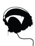 Headphones Silhouette. With spraypaint drips Stock Photo