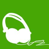 Headphones silhouette outline. Outline silhouette illustration of Dj headphones on a green background Royalty Free Stock Photo