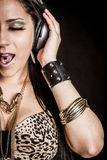 Headphones Singing Woman stock images