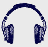Headphones sketch. Doodle style. Vector Royalty Free Stock Image