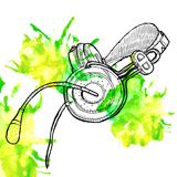 Headphones sketch Stock Photo
