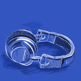 Headphones Sketched. DJ's headphones Royalty Free Stock Image