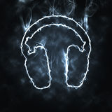 Headphones in the smoke Stock Photo
