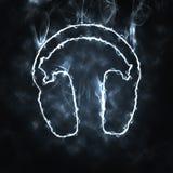 Headphones in the smoke. Illustration of headphones in the smoke Stock Photo