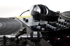 Headphones, sound mixer and turntables Royalty Free Stock Photo