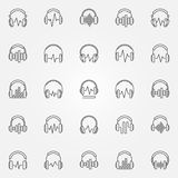 Headphones with sound wave vector outline icons set. Headphones with sound wave icons set. Vector headphone with equalizer concept symbols in thin line style royalty free illustration