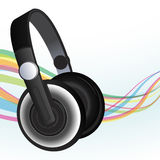 Headphones and sound waves Royalty Free Stock Photography