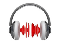 Headphones with sound waves Royalty Free Stock Images