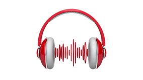 Headphones with sound waves stock video