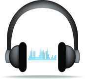 Headphones and soundwaves Stock Photography