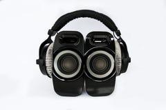 Headphones with speakers stock image