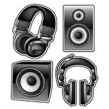 Headphones and speakers Stock Images