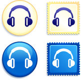 Headphones on Stamp and Button Stock Photo