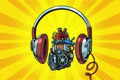 Headphones and steampunk heart motor royalty free illustration